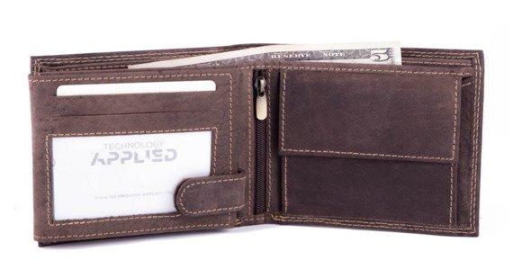 Skórzany portfel męski SOLIER SW24 brązowy