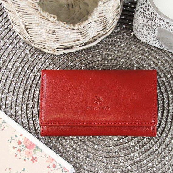 KRENIG Classic 12035 czerwony skórzany wizytownik