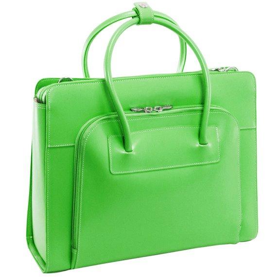 """Skórzana teczka damska Mcklein Lake Forest 94331 na laptopa 15,4"""" zielona"""