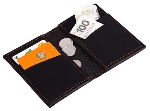 Skórzany cienki portfel + bilonówka BRODRENE SCW03 czarny