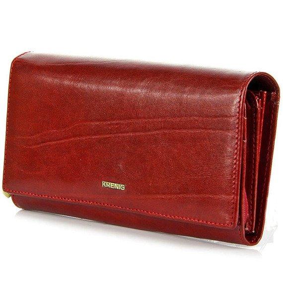 KRENIG El Dorado 11015 ekskluzywny czerwony skórzany portfel damski w pudełku