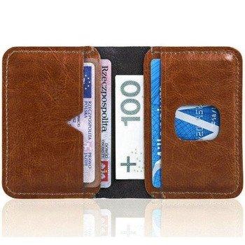 538d8f7da9ba5 Cienki skórzany portfel męski Solier SW11 brązowy