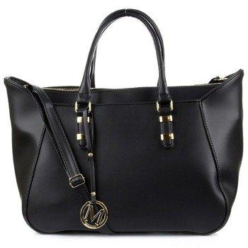 Czarna torebka damska ze skóry ekologicznej koszyk złote dodatki