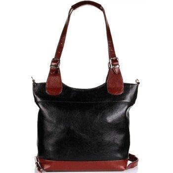 DAN-A T195A czarno-koniakowa torebka skórzana elegancka