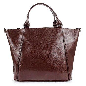 DAN-A T208A koniakowa torebka skórzana damska kuferek