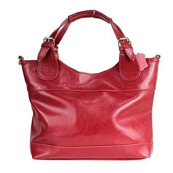 DAN-A T214 czerwona torebka skórzana damska kuferek