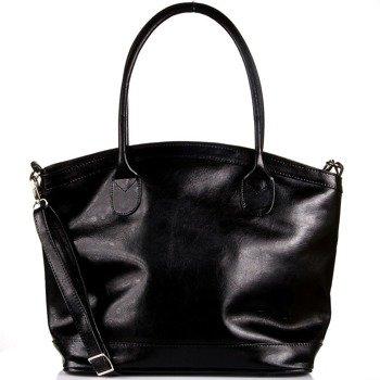 DAN-A T268 czarna torebka kuferek ze skóry naturalnej