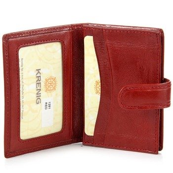 KRENIG Classic 12081 czerwone skórzane etui na karty/wizytówki