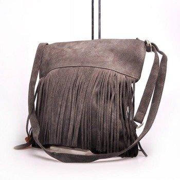 MADE IN ITALY Postino 174 włoska torebka skórzana, plecak z frędzlami szara