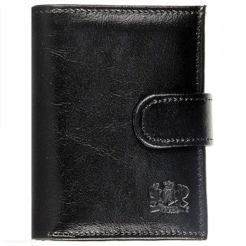 P158 czarny skórzany portfel męski