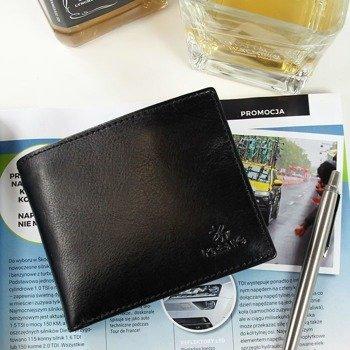 Portfel skórzany męskie KRENIG Classic 12027 czarny w pudełku