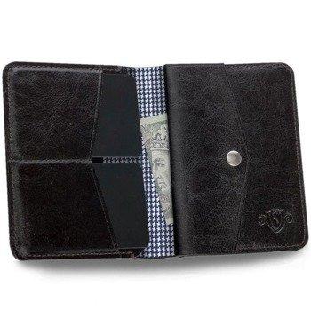 b5fb24a13d4ff Skórzany Cienki portfel męski z bilonówką SOLIER SW15A SLIM ciemny brąz