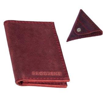 Skórzany cienki portfel + bilonówka BRODRENE SCW03 czerwony