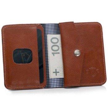 4b418c40f2374 Skórzany cienki portfel męski z bilonówką SOLIER SW16A SLIM brązowy