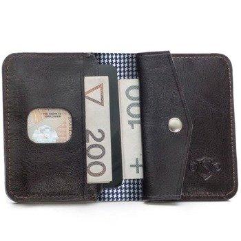 a30328ba8dcac Skórzany cienki portfel męski z bilonówką SOLIER SW16A SLIM ciemny brąz