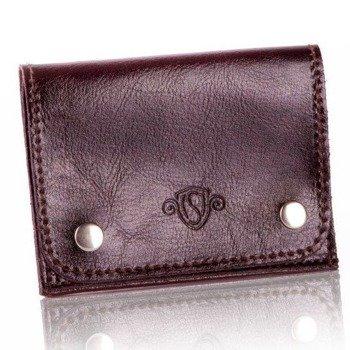 be03885748807 Skórzany cienki portfel wizytownik Solier SW18 ciemny brązowy