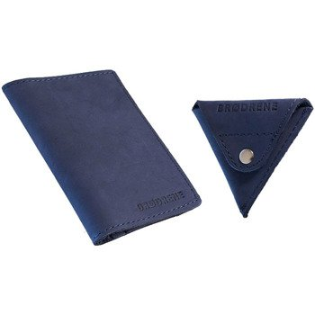 Skórzany zestaw portfel i bilonówka BRODRENE SW01 + CW01 granatowy