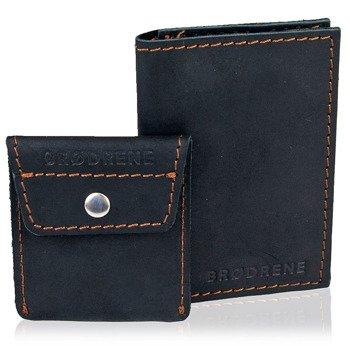 Skórzany zestaw portfel i bilonówka BRODRENE SW03 + CW02 czarny