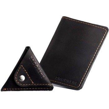 Skórzany zestaw portfel i bilonówka BRODRENE SW05 + CW01 czarny