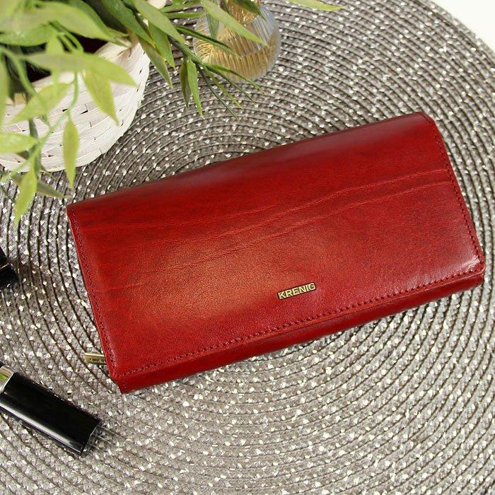 5bd2b29564bfb KRENIG El Dorado 11015 ekskluzywny czerwony skórzany portfel damski w  pudełku ...