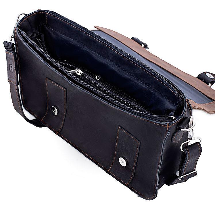 Skórzana torba męska BRODRENE BL11 ciemnobrązowo czarna c