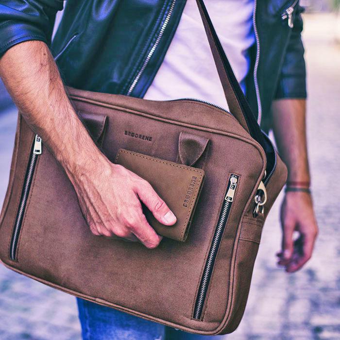 Skórzana torba męska na laptop BRODRENE BL02 brązowa