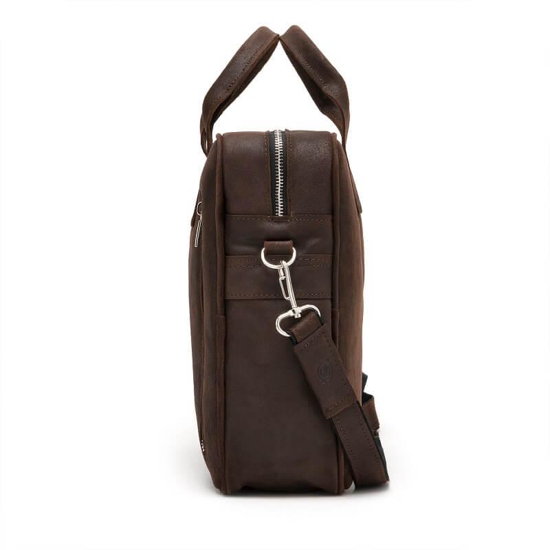 Skórzana torba męska na laptop BRODRENE BL02 ciemnobrązowa