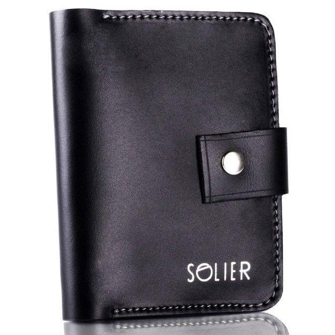 0b1f11378d6e1 Skórzany cienki męski portfel z miejscem na monety SOLIER SW17 czarny  vintage ...