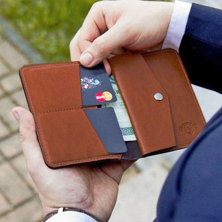 8487f28cc313c4 Skórzany cienki portfel męski z bilonówką SOLIER SW15 SLIM brąz ...
