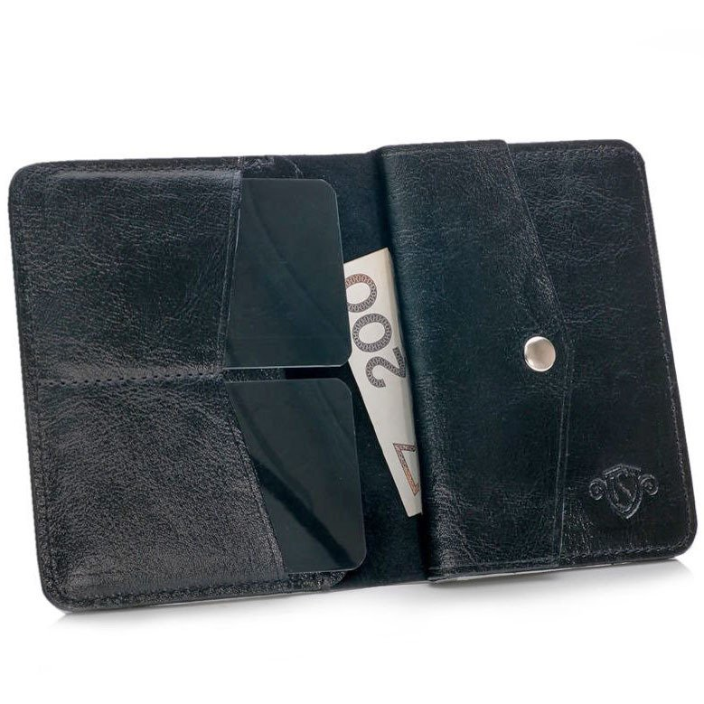 a556f2502848df Skórzany cienki portfel męski z bilonówką SOLIER SW15 SLIM czarny ...
