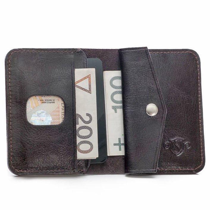 f1fc84a53a013 Skórzany cienki portfel męski z bilonówką SOLIER SW16 SLIM ciemny brąz ...