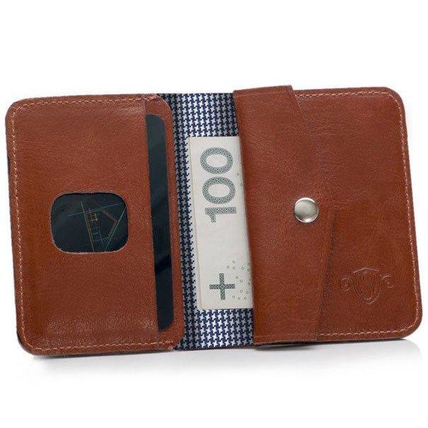 511a3a81495e8 Skórzany cienki portfel męski z bilonówką SOLIER SW16A SLIM brązowy ...