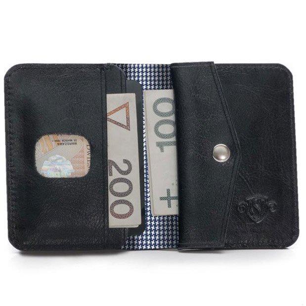 244cfcbb839bf Skórzany cienki portfel męski z bilonówką SOLIER SW16A SLIM czarny ...