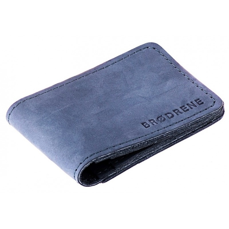 aebd25434af7c Skórzany cienki portfel slim wallet BRODRENE SW02N granatowy ...
