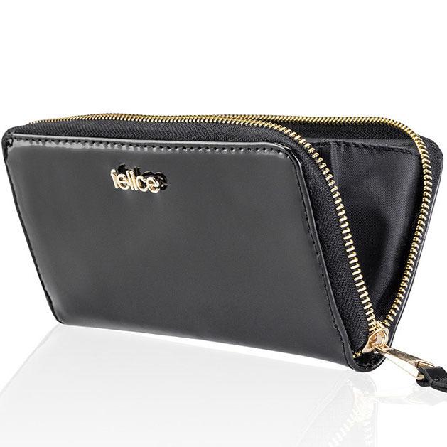 Skórzany portfel damski lakierowany P05 czarny