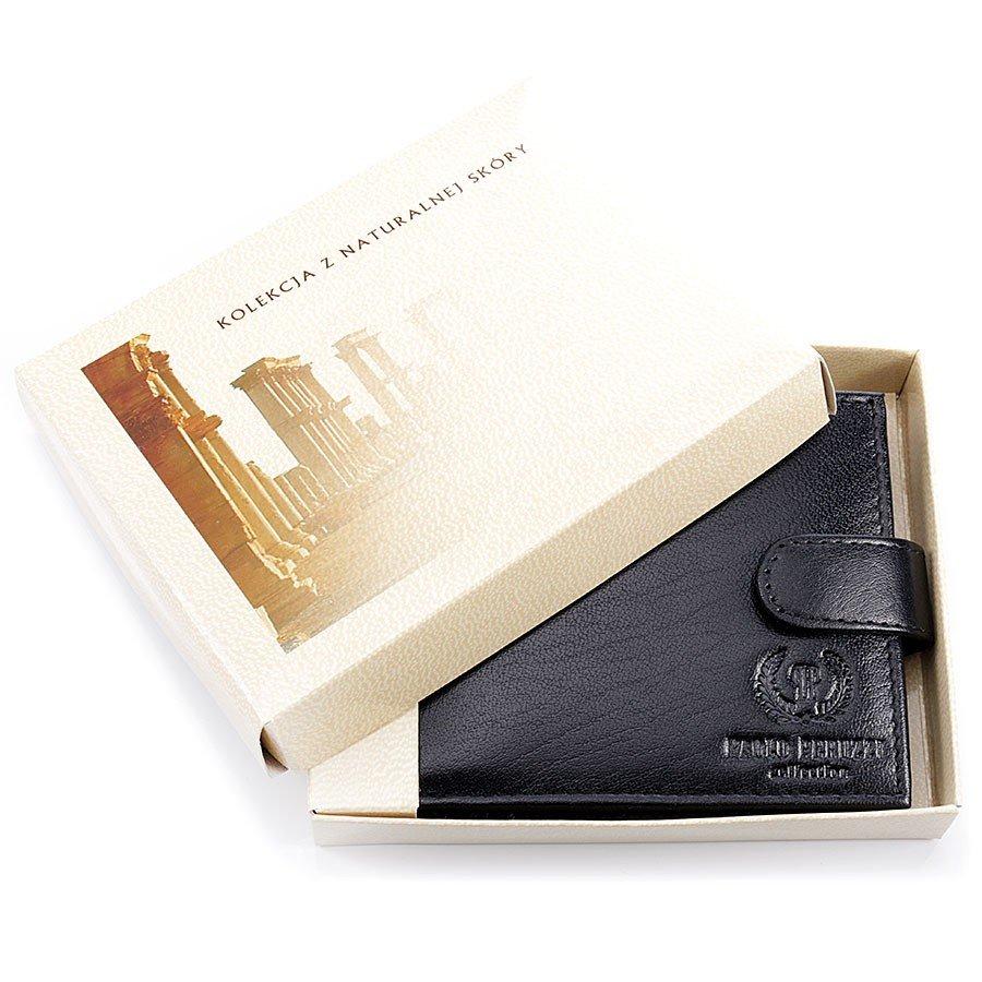 Skórzany portfel męski w pudełku czarny GA56