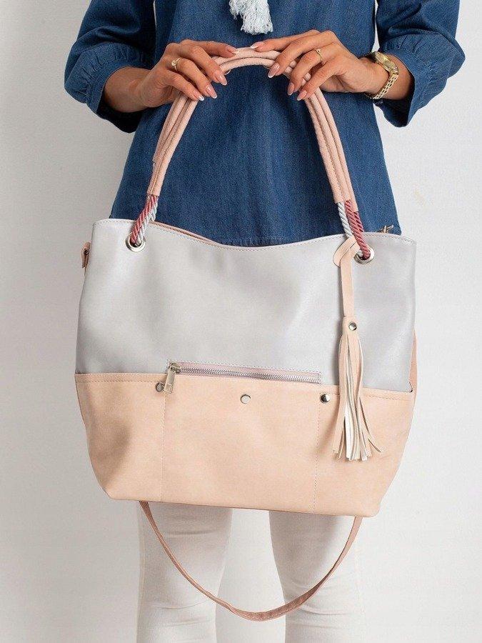 Torebka damska shopper bag worek 0010 szaro różowa