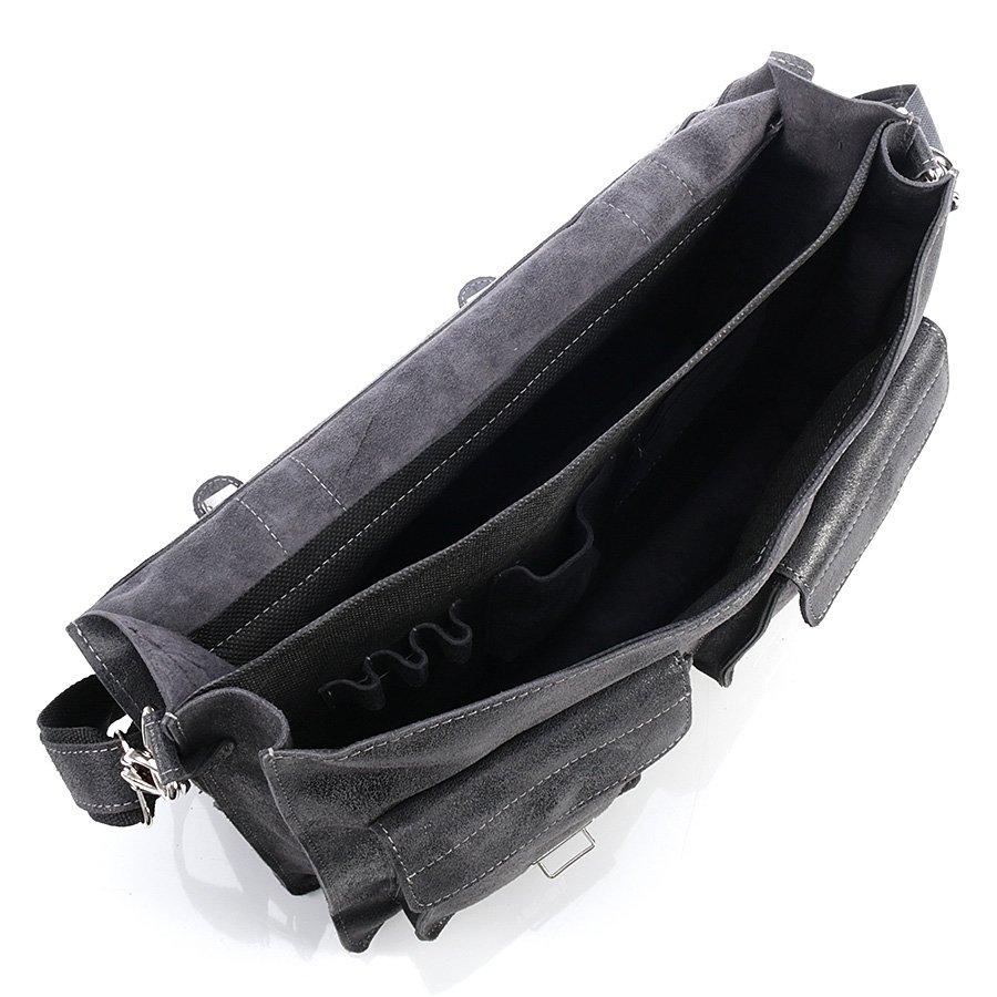 Włoska teczka skórzana licowa czarna GA19