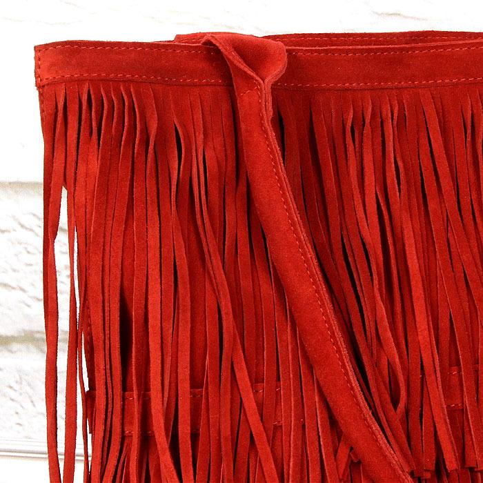 b62fc8e9e50dd ... Włoska torebka skórzana z frędzlami czerwona MADE IN ITALY Spalla 228  ...