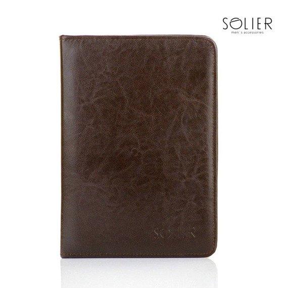 Aktówka biwuar na dokumenty A5 Solier ST03 ciemny brąz