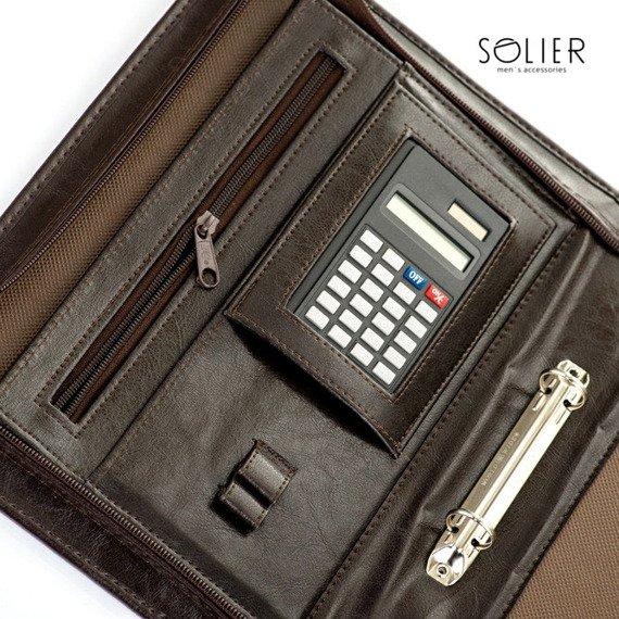 Aktówka biwuar na dokumenty A5 z kalkulatorem Solier ST02 ciemny brąz