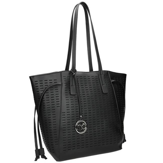 Ażurowy shopper czarny Nobo NBAG-K1070-C020