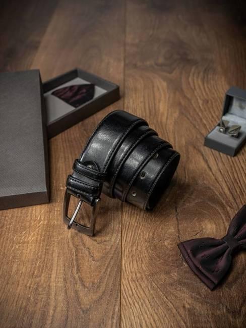 Błyszczący pasek męski czarny PSN-01-ART BLACK