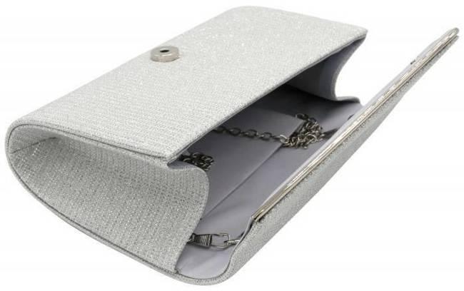 Brokatowa kopertówka srebrna Lorenti PP-EB-39 SILVER