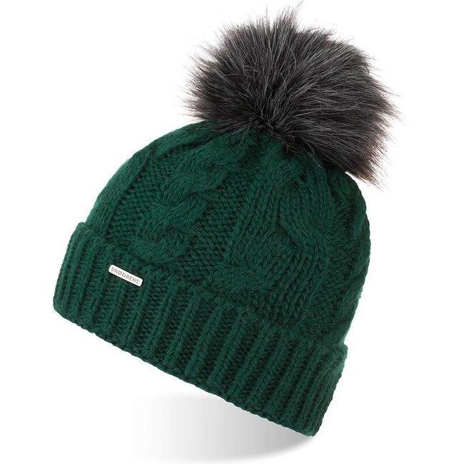 Czapka zimowa damska z pomponem Brodrene CZ24 zielona