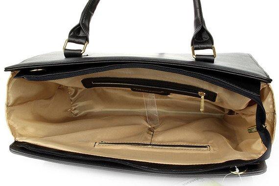 Czarno - biała torebka damska kuferek ze skóry ekologicznej