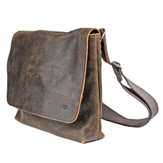 DAAG Jazzy Risk 133 brązowa torba skórzana unisex listonoszka przez ramię