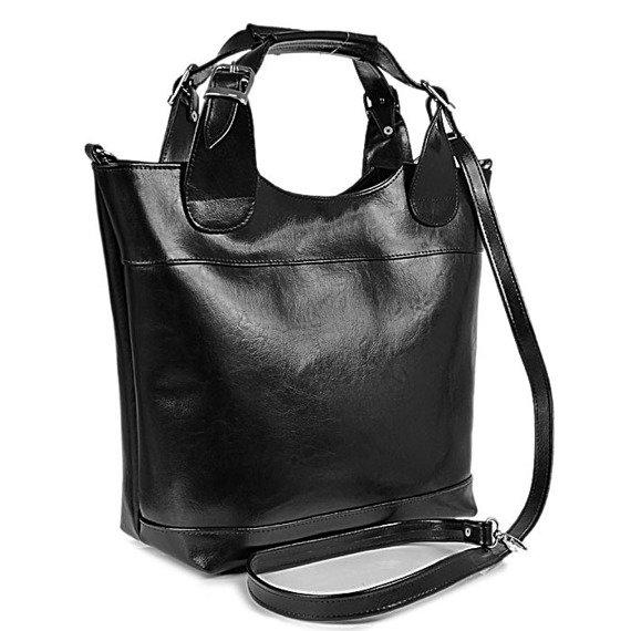 DAN-A T195 czarna torebka skórzana elegancki kuferek