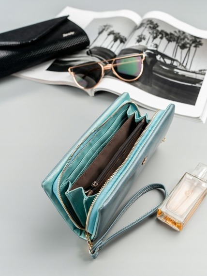 Duży portfel damski niebieski Milano Design