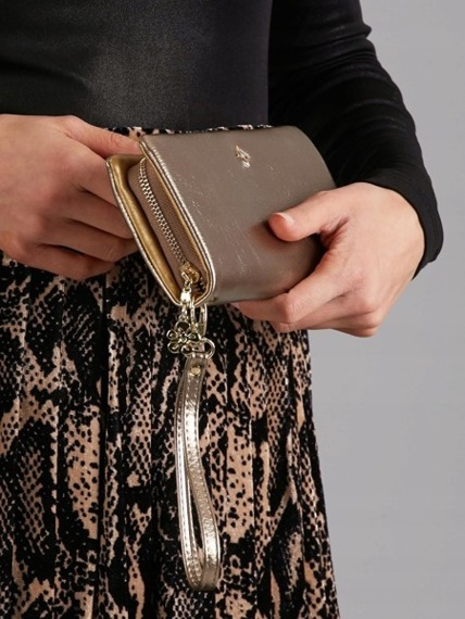 Duży portfel damski złoty Milano Design